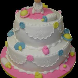Tort botez cu figurine bebe nasturi si biberon-0