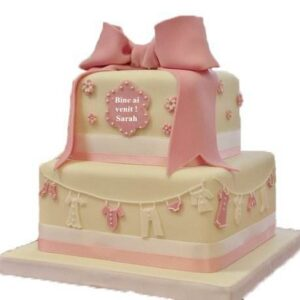Tort botez cu fundita roz-0
