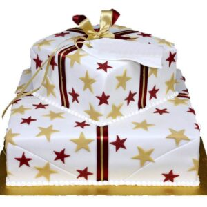 Tort aniversar decorat cu stele-0