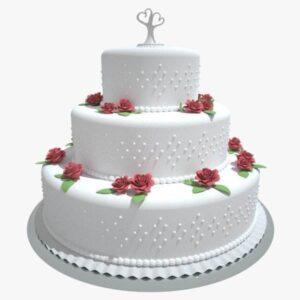 Tort nunta cu perle albe-0