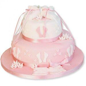 Tort botez roz cu botosei pentru fetita-0