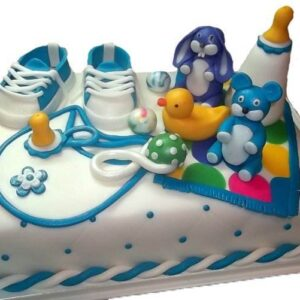 Tort botez cu iepurasi si biberon-0