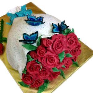 Tort buchet de flori cu trandafiri