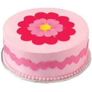 Tort pentru Valentine's Day cu flori si inimioare -0