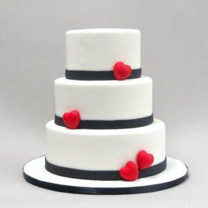 Tort de nunta cu inimioare -0